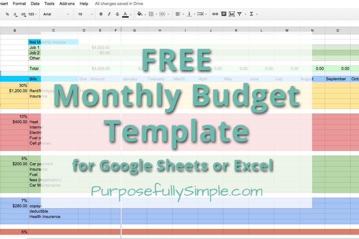 budget worksheet free